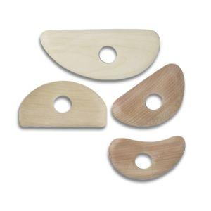 Set cutite rotunde din lemn de par 4 buc